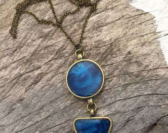 FINAL SALE Blue charm on Antique Brass Chain