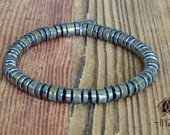 Bracelet man in pyrite and hematite INZ - I - model ELIOT