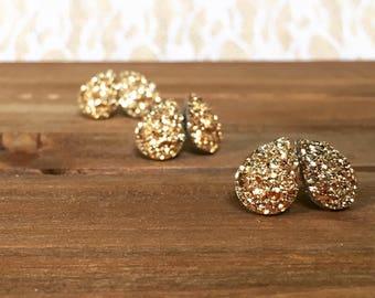 Tear Drop Druzy Earrings - Gold