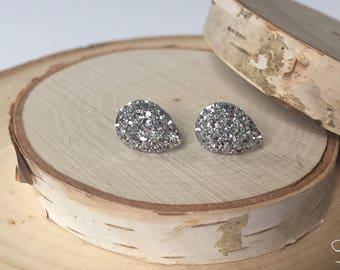 Bridal Earrings - Teardrop Silver Druzy