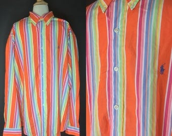 Ralph Lauren Colorful Striped Orange, Red, Blue, Green and Yellow Retro Button-up Shirt