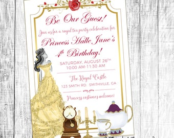 Beauty and the Beast Invitation, Belle Invitation, Birthday Invitation, Tea Party Invitation, Beauty and the Beast Birthday Party