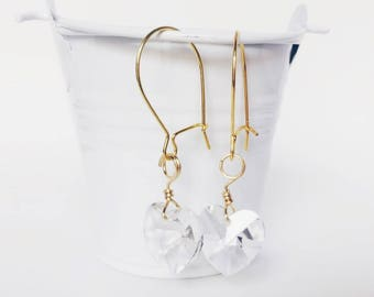 Swarovski Crystal Earrings - Heart Earrings - Lightweight Earrings