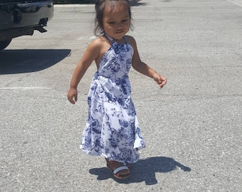 Chiffon summer floral dress, back less, maxi dress for babies toddlers and kids.