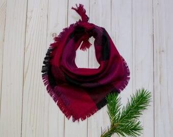 OLYMPIA- Square bandana, magenta bandana, purple bandana, pink bandana, plaid bandana, frayed bandana, dog accessory, dog bandana