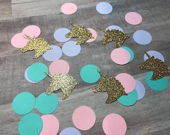 Unicorn Confetti, Unicorn Theme confetti, confetti, 100 confetti piece Package (20Unicorn&80Circle)