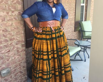 Maxi African Print Knee Length Skirt
