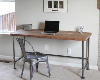 rustic wood u0026 industrial pipe desk 5ft