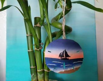 Pirate Ship Silhouette Sand Dollar Ornament