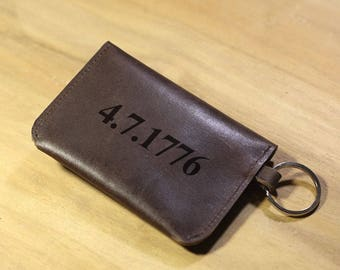 Personalized Leather Keychain For Him, Keychain Anniversary, Custom Leather Keychain Wallet #002 Dark Brown
