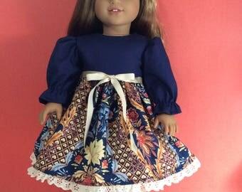 Navy blue /tan dress fits 18 American girl dolls