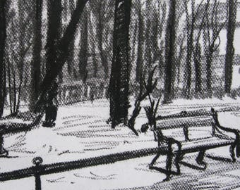 Old City Krakow Kraków Krakau Cracow Poland | charcoal drawing dibujo al carbón boceto Skizze ilustración illustration Impresión ART PRINT