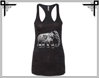 Abstract Elephant Tank Elephant Tank Top Elephant Tank Animal Tank Top Women Tank Ladies Tank Burnout Racerback Tank Gift For Her