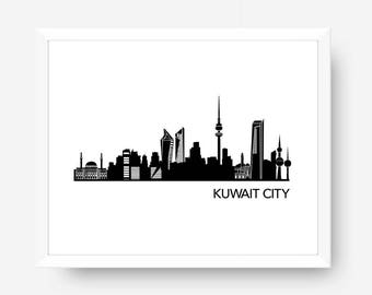 KUWAIT City Skyline, Kuwait Cityscape Printable, Kuwait Wall Art, Kuwait Wall Decor, Black & White Silhouette Print, Kuwait landmarks poster