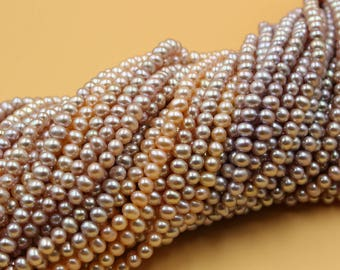 Freshwater Pearls Potato pearl Natural gold / purple loose pearl 5 - 6 mm 15'' Full Strand