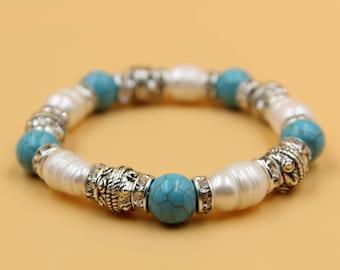 Pearl turquoise bracelet, white pearl bracelet, turquoise bracelet, freshwater pearl jewelry, Christmas gift for her, tribal bracelet