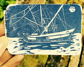 Salmon Fishing Linocut Sticker