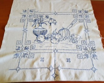Vintage white blue square cotton  handmade stitch picture for kitchen