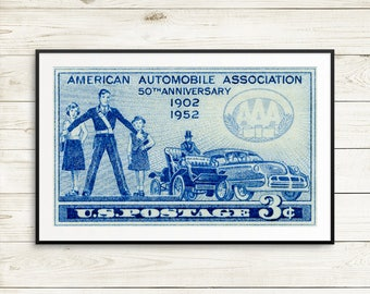 Gifts for drivers, garage decor, gifts for mechanics, car lover gifts, vintage car gifts, man cave art, American Automobile Association, AAA