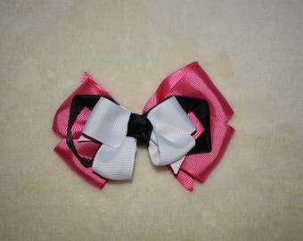 Pink & black layered bow