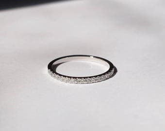 Diamond band, Wedding band, Diamond ring, Wedding Ring, 14k Gold Ring, stackable rings, dainty rings, minimal rings