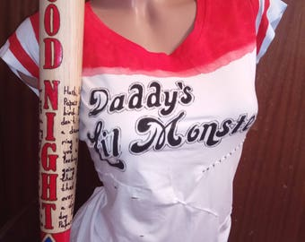 Harley Quinn Shirt Daddys Lil monster Harley Quinn Costume Handmade Painting Suicide Squad Harley Quinn Cosplay Custom design Party T-Shirt