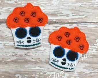 Sugar Skull Feltie, Sugar Skull Cupcake Felties, Halloween Feltie, Cupcake Felties, Set of 2 Embroidered Felties, Cut Felties, Skeleton