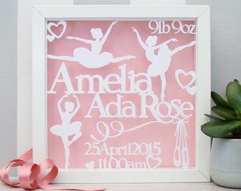 Personalised Baby Gift - Framed Baby Papercut - Baby Name Frame; Ballerina Nursery Art, Personalised Gift for Baby, Ballet Dancer, Baby Girl