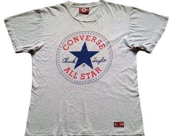Vintage Converse All Star Chuck Taylor Big Logo Large Size Skate Tshirt Top Tee