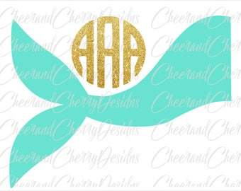 Mermaid SVG Mermaid monogram SVG Ocean svg Mermaid Silhouette Cameo file Mermaid tail svg Summer svg Beach svg file for Cricut  Shirt Girl