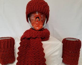 Rustic orange Hat, Scarf, and Reversible Boot Cuffs Set.