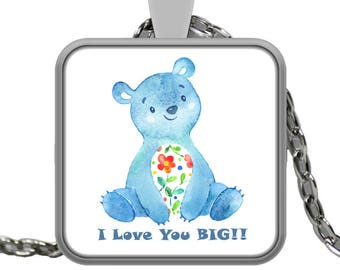 "I LOVE YOU Watercolor Floral Heart Teddy Bear Jewelry Silver Necklace with Pendant! Wear this proudly on 22"" silver plated necklace!"