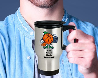BASKETBALL TRAVEL MUG! Basketball Season!! Love Music and Hoops?? This is for you! Insulated Stainless Steel Travel Coffee Mug With Lid