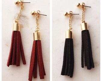 Vintage Tassel Drop Earrings / Suede Fabric Long Dangle Earrings