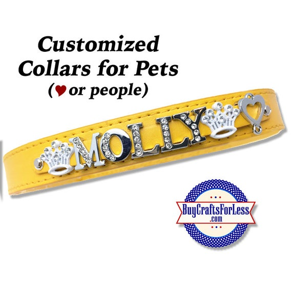PERSONALIZE Pet (or People) Collars with 8mm Slider Letters and Charms, 2 SIZES -8 colors  +FREE Shipping & Discounts*