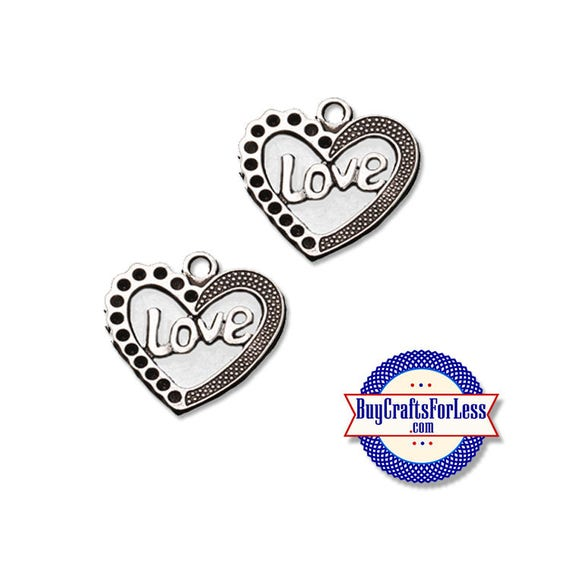 LOVE Heart Charms, 6, 12, 24 pcs  +FREE SHiPPiNG & Discounts*