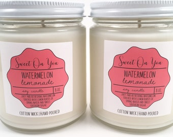 Watermelon Lemon, Candles,Candle,Scented Candle, Dessert Candles, Soy Candles, Home fragrance, gift, Cotton Candy. Dye free, Mason Jar