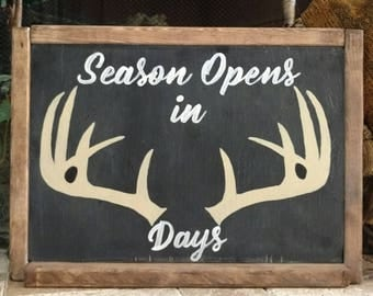 "Hand Painted Antler ""Season Opens in Days"" Stained Wood Framed Chalkboard"