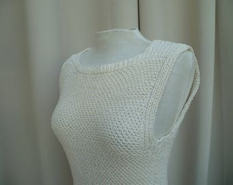handmade off white square neckline tank top