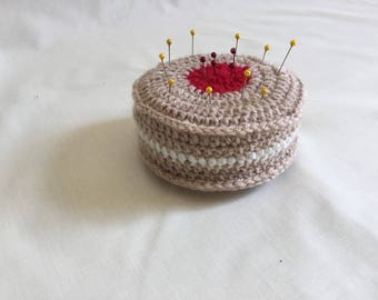 Crochet pin cushion jam and cream biscuit design with pins included