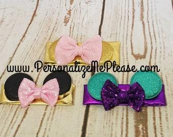 Minnie  Headband, ,baby headband, Sequin Minnie headband,  Minnie ears infant headbands