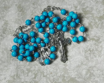 Blue and White Mary Rosary