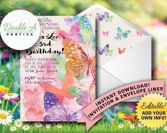Butterfly Garden Birthday Invite - Girl Birthday Party Invite, Watercolor Butterflies, Feminine Birthday Invite, Self-Editable Invitation