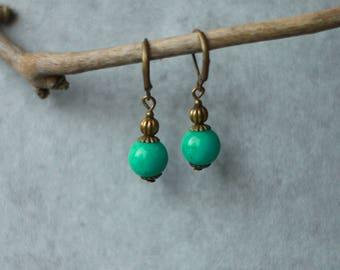 Jade green and bronze earrings