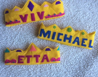 Baby / Child's Felt Crown with Customized Name