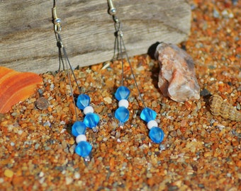 iridescent blue beads earrings
