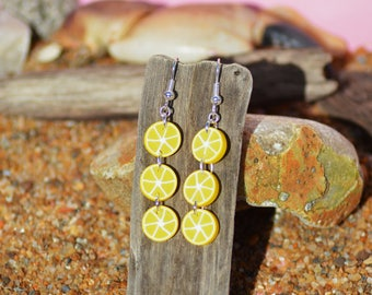 Earrings in polymer clay lemon yellow slices