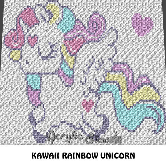 Rainbow Unicorn Knitting Pattern : Baby graphgan pattern corner to c crochet