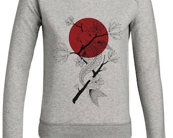 Sweatshirt Koï carp / / man / / women / / organic cotton / / organic ink / / gray / / handmade Illustration / / linework / / fish / / Geometric draw sccAx