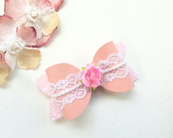 Vintage rose suede bow